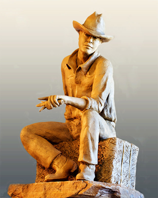 Seated Cowboy - clay for bronze